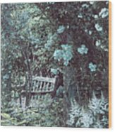 Turquoise Muted Garden Respite Wood Print