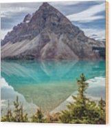 Turquoise Reflection At Bow Lake Wood Print