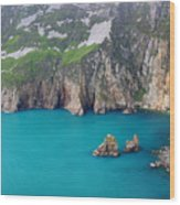 turquoise sea at Slieve League cliffs Ireland Wood Print