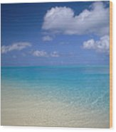 Turquoise Shoreline Wood Print