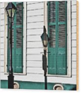 Turquoise Shutters Wood Print