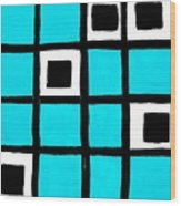 Turquoise Squares Wood Print by Marsha Heiken