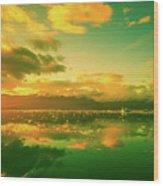 Turquoise Sunrise Wood Print
