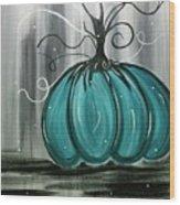 Turquoise Teal Surreal Pumpkin Wood Print