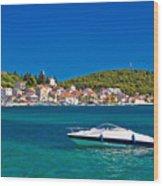 Turquoise Waterfront Of Rogoznica Tourist Destination Wood Print