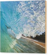 Turquoise Wave Tube Wood Print