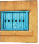 Turquoise Window Shutter Wood Print
