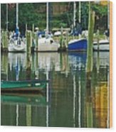 Turquoise Workboat In The Colorful Harbor Wood Print