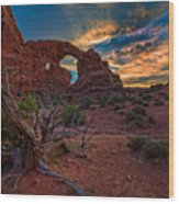 Turret Arch At Sunset Wood Print
