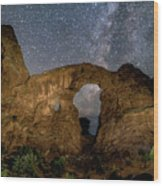 Turret Arch Milkyway, Arches National Park, Utah Wood Print