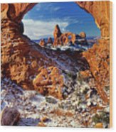 Turret Arch Through North Window Arches National Park Utah Wood Print