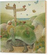 Turtle And Rabbit01 Wood Print