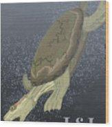 Turtle Dives Too Deep Wood Print