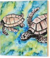 Turtle Love Pair Of Sea Turtles Wood Print