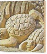 Turtle Sand Castle Sculpture On The Beach 999 Wood Print