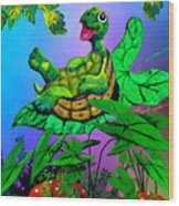Turtle Trampoline Wood Print