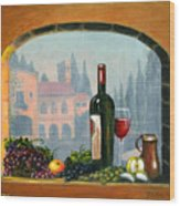 Tuscan Arch Wine Grape Feast Wood Print by Italian Art