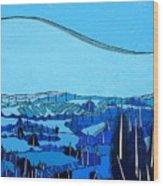 Tuscan Blue View Wood Print