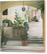 Tuscan Courtyard Detail Wood Print