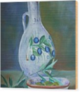 Tuscan Elements - Olive Oil With Olives Wood Print