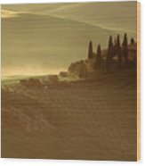 Tuscan Farmouse In Morning Mist Wood Print by Andrew Soundarajan