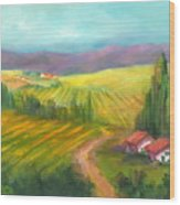 Tuscan Fields Wood Print