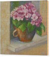 Tuscan Flower Pot Oil Painting Wood Print