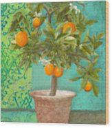 Tuscan Orange Topiary - Damask Pattern 2 Wood Print