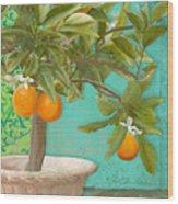 Tuscan Orange Topiary - Damask Pattern 3 Wood Print