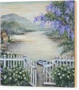 Tuscan Pond And Wisteria Wood Print