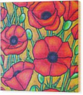 Tuscan Poppies - Crop 1 Wood Print