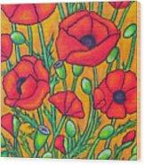 Tuscan Poppies - Crop 2 Wood Print