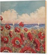 Tuscan Riviera Red Poppies Wood Print