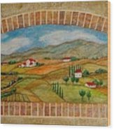 Tuscan Scene Brick Window Wood Print
