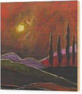 Tuscan Sunset Rage Wood Print by Italian Art
