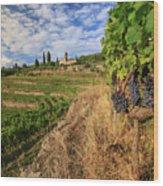 Tuscan Vineyard And Grapes Wood Print