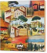 Tuscany Collage Wood Print