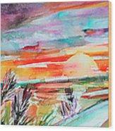Tuscany Landscape Autumn Sunset Fields Of Rye Wood Print