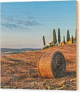 Tuscany Landscape With Farm House At Sunset, Val D'orcia, Italy Wood Print