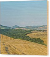 Tuscany Landscape With Rolling Hills At Sunset, Val D'orcia, Ita Wood Print