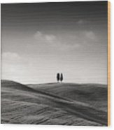 Tuscany Twin Cypresses Wood Print