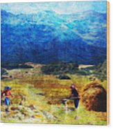 Tusheti Hay Makers I Wood Print