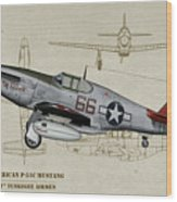 Tuskegee P-51b By Request - Profile Art Wood Print