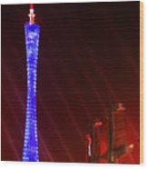 Tv Tower At Night Wood Print