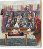 Twelve Angry Roosters Wood Print