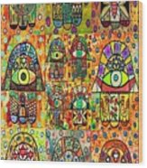 Twelve Hamsas Wood Print