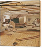 Twenty-seven Pound Cannon On A Battleship Wood Print