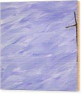 Twig Cross On Purple Wood Print