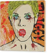 Twiggy Got Jealous Wood Print by Sean King