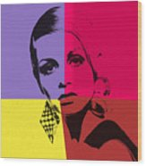Twiggy Pop Art 1 Wood Print